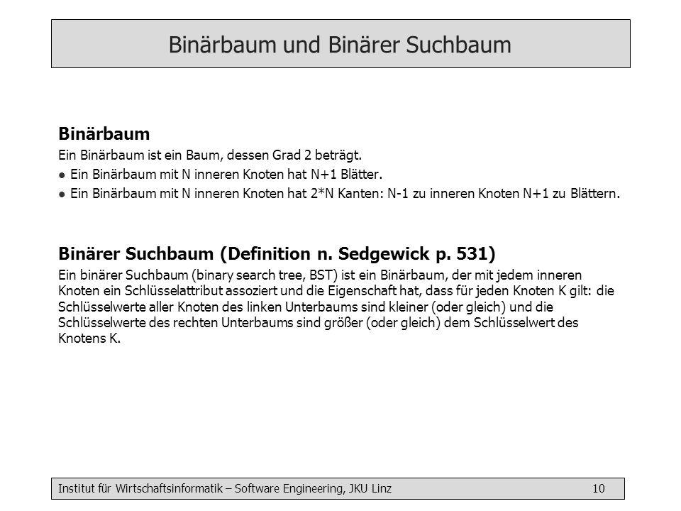 Institut für Wirtschaftsinformatik – Software Engineering, JKU Linz 10 Binärbaum und Binärer Suchbaum Binärbaum Ein Binärbaum ist ein Baum, dessen Grad 2 beträgt.