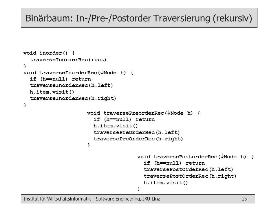 Institut für Wirtschaftsinformatik – Software Engineering, JKU Linz 15 Binärbaum: In-/Pre-/Postorder Traversierung (rekursiv) void inorder() { traverseInorderRec(root) } void traverseInorderRec( Node h) { if (h==null) return traverseInorderRec(h.left) h.item.visit() traverseInorderRec(h.right) } void traversePreorderRec( Node h) { if (h==null) return h.item.visit() traversePreOrderRec(h.left) traversePreOrderRec(h.right) } void traversePostorderRec( Node h) { if (h==null) return traversePostOrderRec(h.left) traversePostOrderRec(h.right) h.item.visit() }