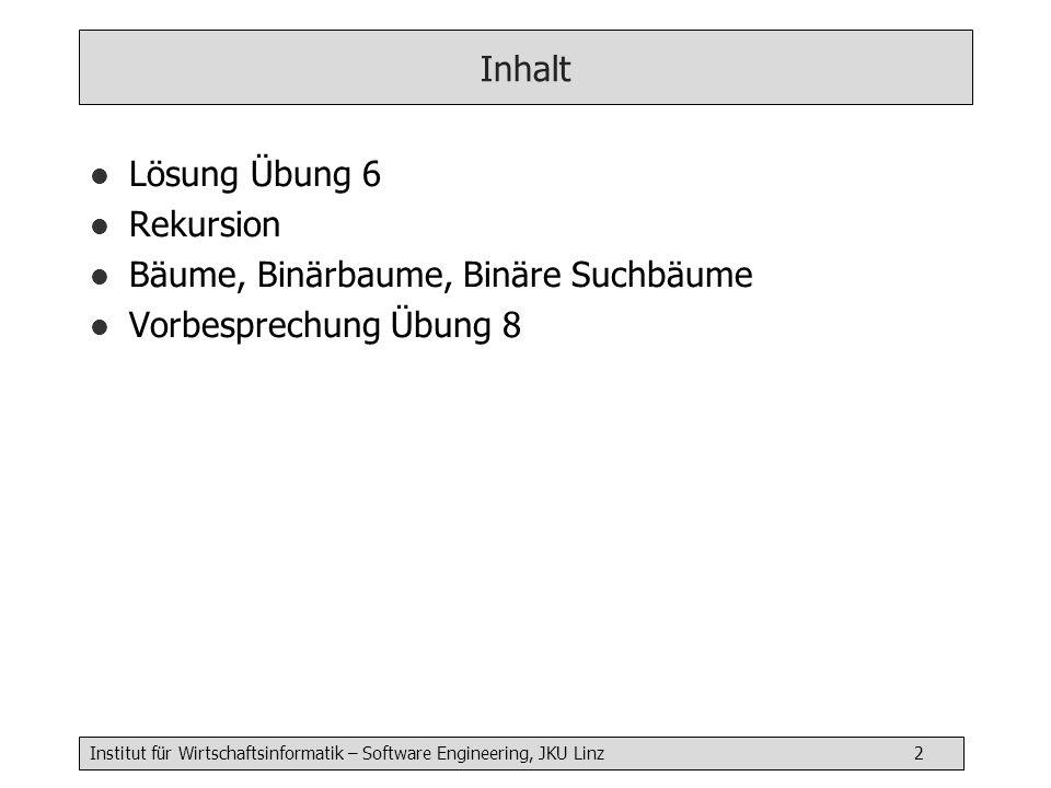 Institut für Wirtschaftsinformatik – Software Engineering, JKU Linz 2 Inhalt l Lösung Übung 6 l Rekursion l Bäume, Binärbaume, Binäre Suchbäume l Vorbesprechung Übung 8