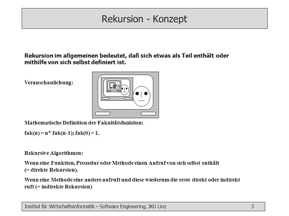 Institut für Wirtschaftsinformatik – Software Engineering, JKU Linz 3 Rekursion - Konzept Rekursion im allgemeinen bedeutet, daß sich etwas als Teil enthält oder mithilfe von sich selbst definiert ist.
