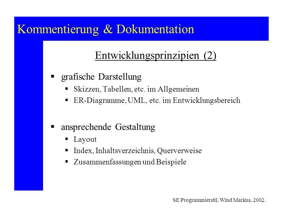 Kommentierung & Dokumentation SE Programmierstil, Wind Markus, 2002.