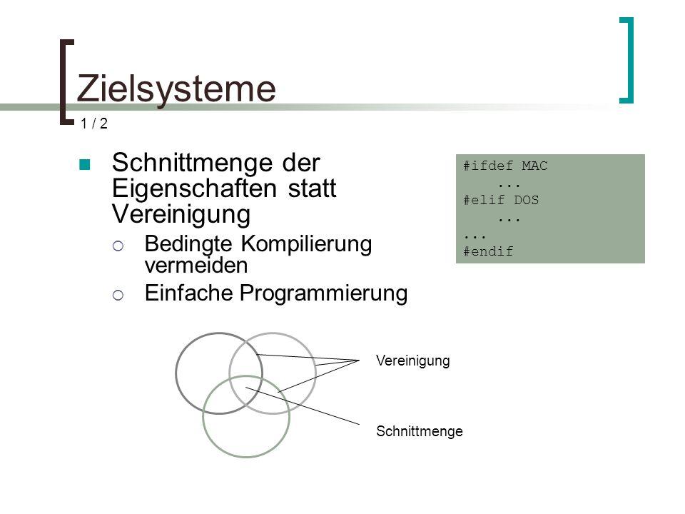Zielsysteme Schnittmenge der Eigenschaften statt Vereinigung Bedingte Kompilierung vermeiden Einfache Programmierung #ifdef MAC... #elif DOS... #endif