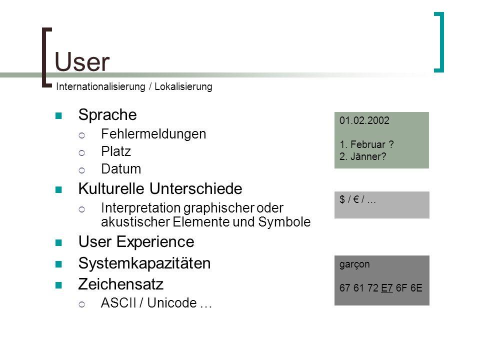 User Sprache Fehlermeldungen Platz Datum Kulturelle Unterschiede Interpretation graphischer oder akustischer Elemente und Symbole User Experience Systemkapazitäten Zeichensatz ASCII / Unicode … Internationalisierung / Lokalisierung 01.02.2002 1.