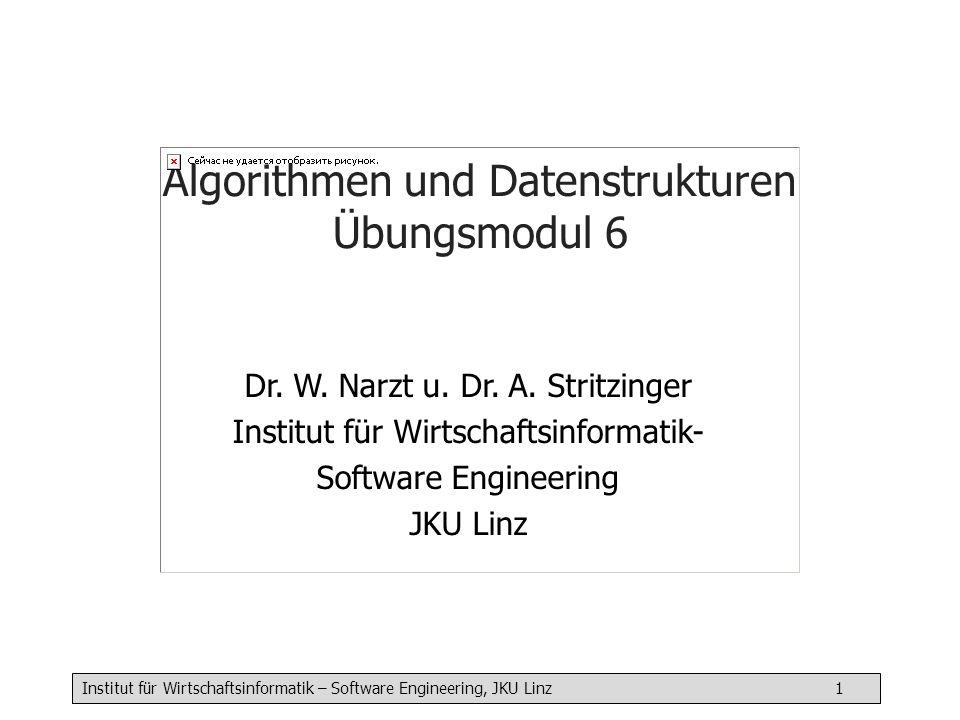 Institut für Wirtschaftsinformatik – Software Engineering, JKU Linz 12 Elemente hinten anhängen appendLast( int a) { Node n // neuen Knoten erzeugen und initialisieren n = new Node n^.value = a; n^.next = null if (first == null) // erstes Element wird eingefügt { first = n } else // Ende der Liste suchen { Node cur = first while (cur^.next != null) { cur = cur^.next } // cur zeigt auf das letzte Element in der Liste (cur.next == null) cur.next = n } } Bsp: myList.appendLast( 199) myList.first value: 18 next: value: 13 next: n value: 199 next: cur