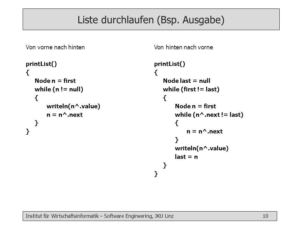 Institut für Wirtschaftsinformatik – Software Engineering, JKU Linz 10 Liste durchlaufen (Bsp. Ausgabe) Von vorne nach hinten printList() { Node n = f