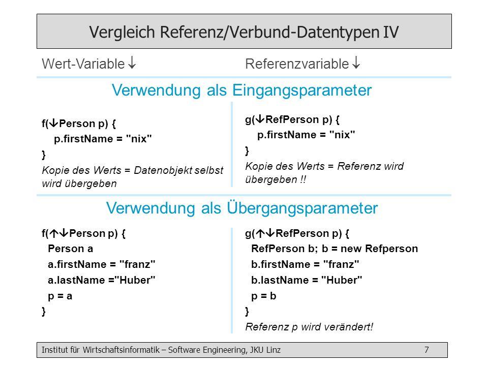 Institut für Wirtschaftsinformatik – Software Engineering, JKU Linz 18 Löschen aus einer doppelt verketteten Liste Fall 1: Normalfalln^.prev^.next = n^.next n^.next^.prev = n^.prev Fall 2: Löschen am Anfangfirst = n^.next n^.next^.prev = null (n^.next^.prev = n^.prev) Fall 3: Löschen am Endelast = n^.prev n^.prev^.next = null (n^.prev^.next = n^.next) Fall 4: Nur 1 Elementfirst = null last = null (first = n^.next) (last = n^.prev) f l n f l n f l n f l n