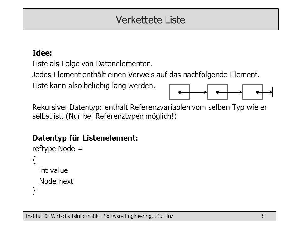 Institut für Wirtschaftsinformatik – Software Engineering, JKU Linz 9 Verkettete Liste als ADT type List = { reftype Node = { int value Node next } Node first init() { first = null } append( int a) {...