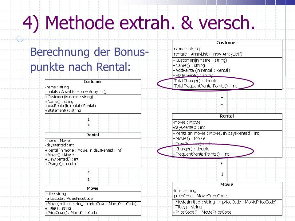 4) Methode extrah. & versch. Berechnung der Bonus- punkte nach Rental: