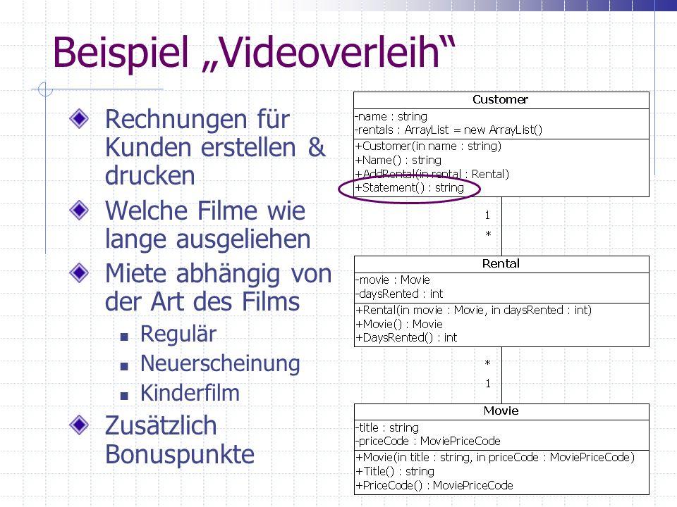 Beispiel Videoverleih Rechnungen für Kunden erstellen & drucken Welche Filme wie lange ausgeliehen Miete abhängig von der Art des Films Regulär Neuerscheinung Kinderfilm Zusätzlich Bonuspunkte