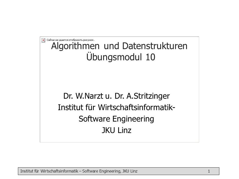 Institut für Wirtschaftsinformatik – Software Engineering, JKU Linz 1 Algorithmen und Datenstrukturen Übungsmodul 10 Dr. W.Narzt u. Dr. A.Stritzinger