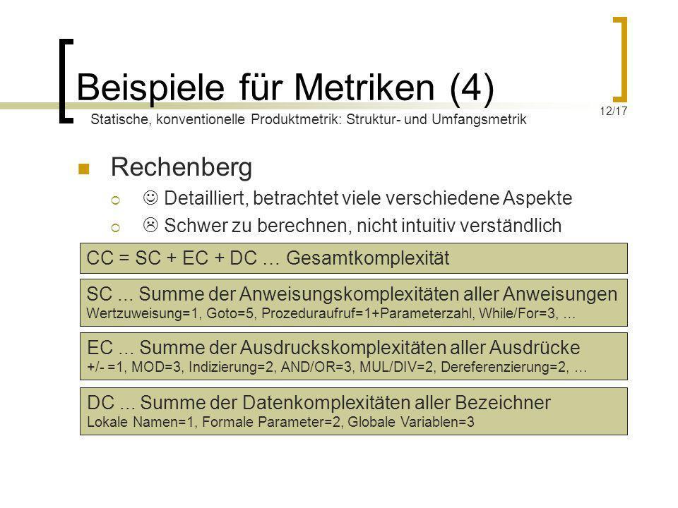 Beispiele für Metriken (4) Rechenberg Detailliert, betrachtet viele verschiedene Aspekte Schwer zu berechnen, nicht intuitiv verständlich CC = SC + EC