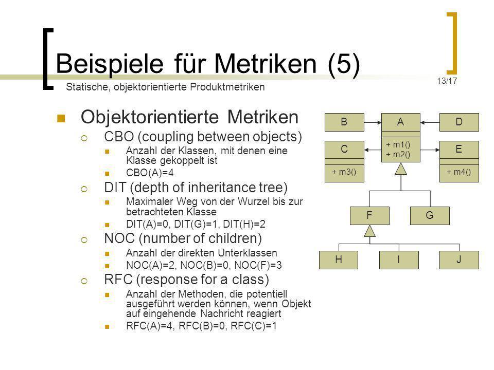 Beispiele für Metriken (5) Objektorientierte Metriken CBO (coupling between objects) Anzahl der Klassen, mit denen eine Klasse gekoppelt ist CBO(A)=4
