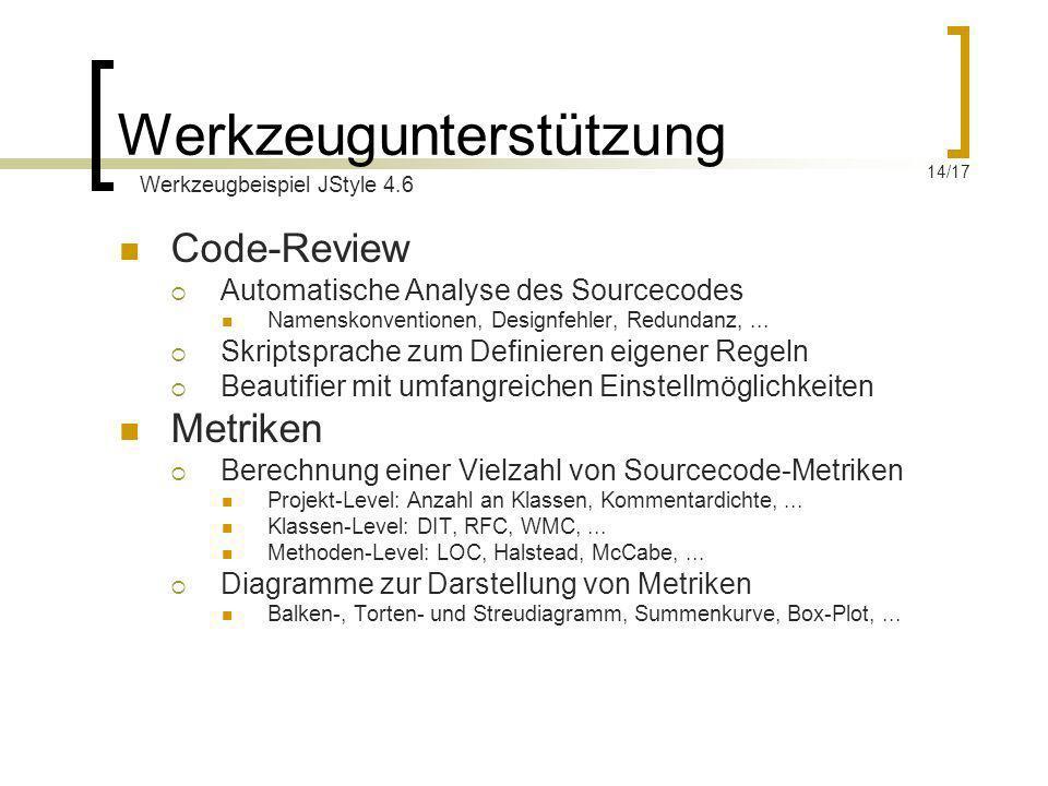 Werkzeugunterstützung Code-Review Automatische Analyse des Sourcecodes Namenskonventionen, Designfehler, Redundanz,... Skriptsprache zum Definieren ei