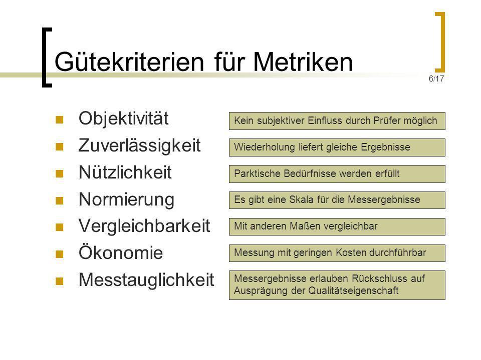 Gütekriterien für Metriken Objektivität Zuverlässigkeit Nützlichkeit Normierung Vergleichbarkeit Ökonomie Messtauglichkeit Kein subjektiver Einfluss d