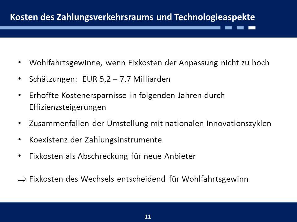 Kosten des Zahlungsverkehrsraums und Technologieaspekte 11 Wohlfahrtsgewinne, wenn Fixkosten der Anpassung nicht zu hoch Schätzungen: EUR 5,2 – 7,7 Milliarden Erhoffte Kostenersparnisse in folgenden Jahren durch Effizienzsteigerungen Zusammenfallen der Umstellung mit nationalen Innovationszyklen Koexistenz der Zahlungsinstrumente Fixkosten als Abschreckung für neue Anbieter Fixkosten des Wechsels entscheidend für Wohlfahrtsgewinn