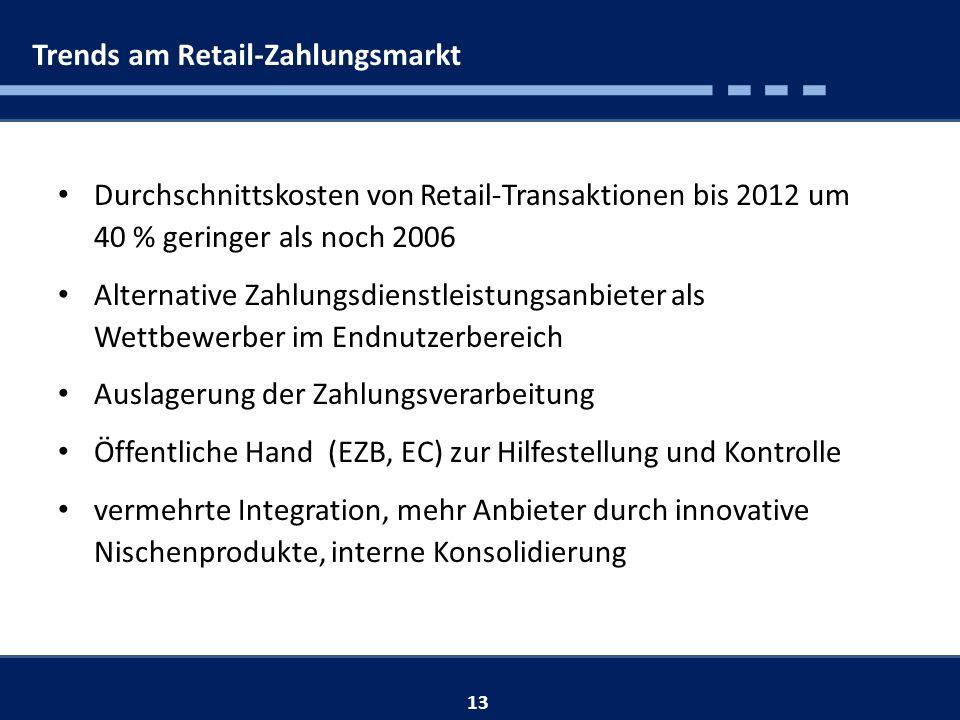 Trends am Retail-Zahlungsmarkt 13 Durchschnittskosten von Retail-Transaktionen bis 2012 um 40 % geringer als noch 2006 Alternative Zahlungsdienstleistungsanbieter als Wettbewerber im Endnutzerbereich Auslagerung der Zahlungsverarbeitung Öffentliche Hand (EZB, EC) zur Hilfestellung und Kontrolle vermehrte Integration, mehr Anbieter durch innovative Nischenprodukte, interne Konsolidierung