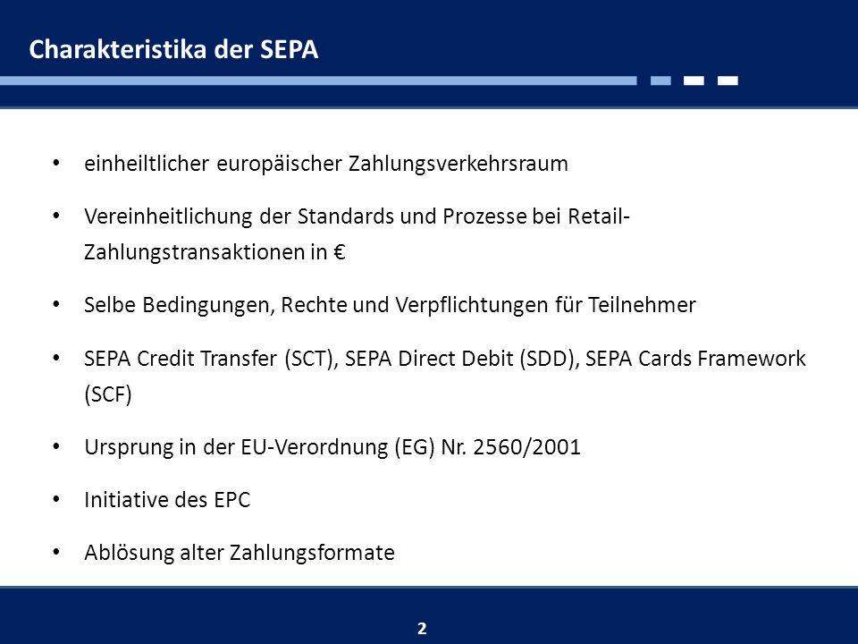 Charakteristika der SEPA einheiltlicher europäischer Zahlungsverkehrsraum Vereinheitlichung der Standards und Prozesse bei Retail- Zahlungstransaktionen in Selbe Bedingungen, Rechte und Verpflichtungen für Teilnehmer SEPA Credit Transfer (SCT), SEPA Direct Debit (SDD), SEPA Cards Framework (SCF) Ursprung in der EU-Verordnung (EG) Nr.
