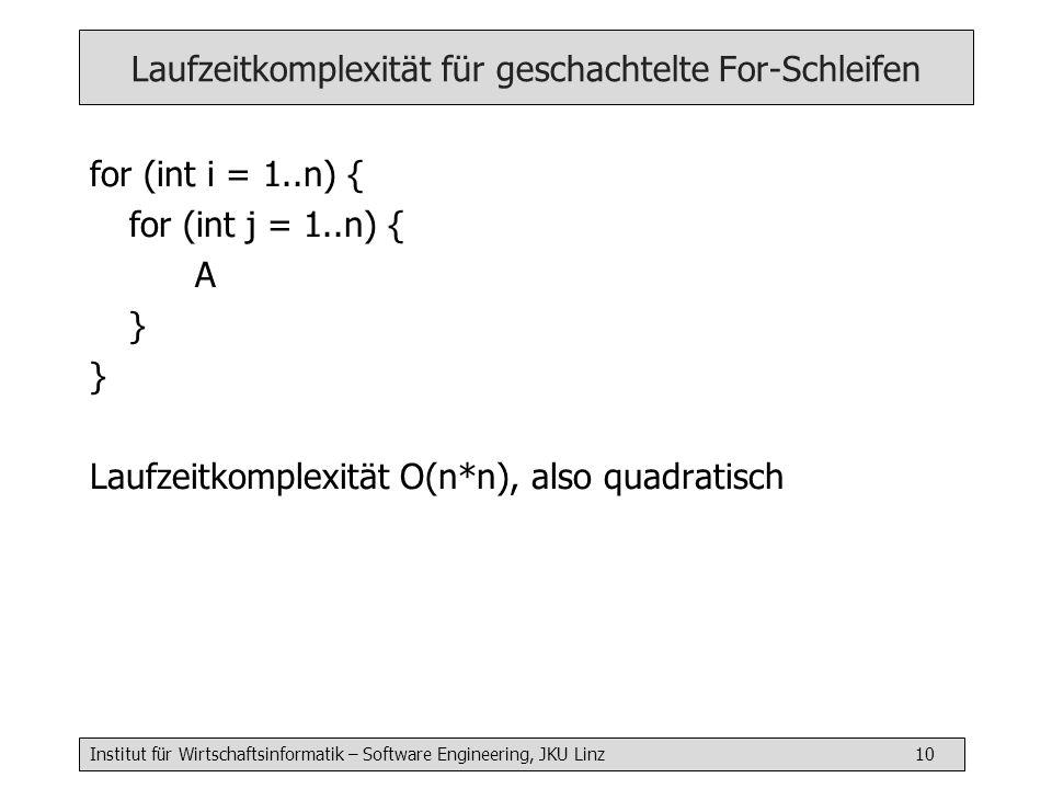 Institut für Wirtschaftsinformatik – Software Engineering, JKU Linz 10 Laufzeitkomplexität für geschachtelte For-Schleifen for (int i = 1..n) { for (int j = 1..n) { A } Laufzeitkomplexität O(n*n), also quadratisch