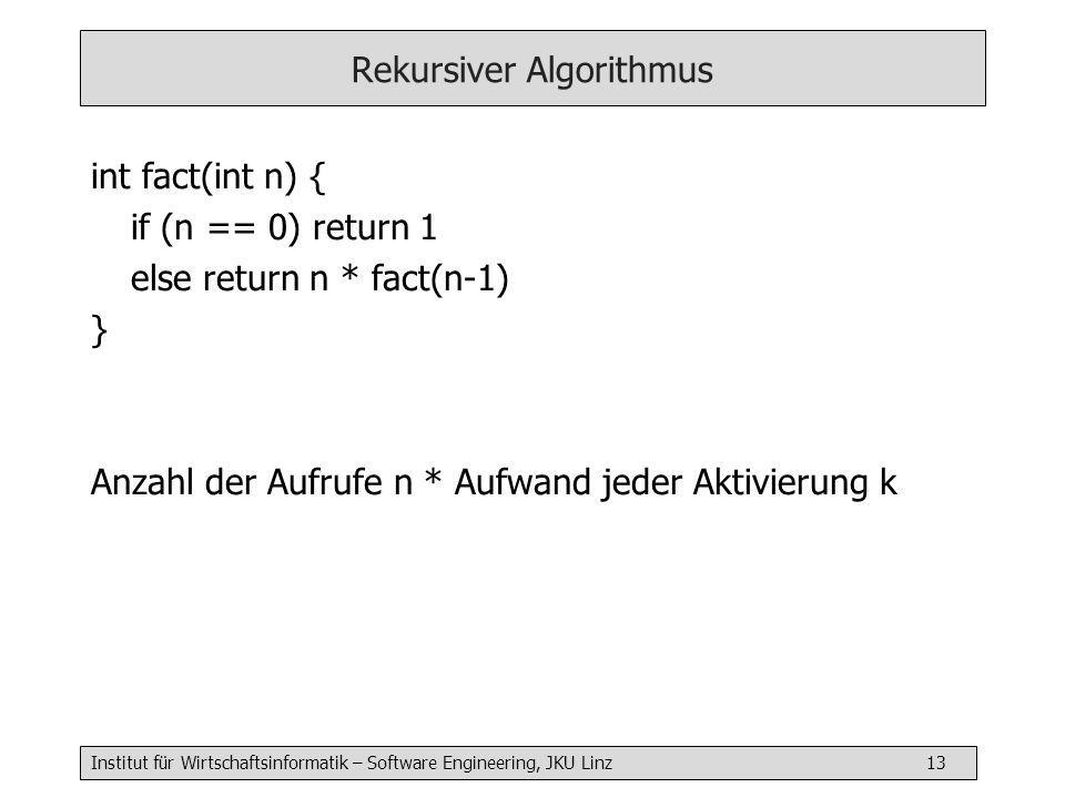 Institut für Wirtschaftsinformatik – Software Engineering, JKU Linz 13 Rekursiver Algorithmus int fact(int n) { if (n == 0) return 1 else return n * fact(n-1) } Anzahl der Aufrufe n * Aufwand jeder Aktivierung k