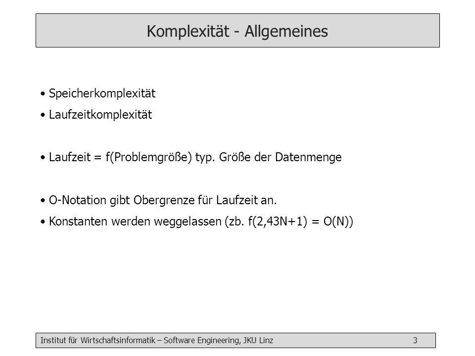 Institut für Wirtschaftsinformatik – Software Engineering, JKU Linz 3 Komplexität - Allgemeines Speicherkomplexität Laufzeitkomplexität Laufzeit = f(Problemgröße) typ.