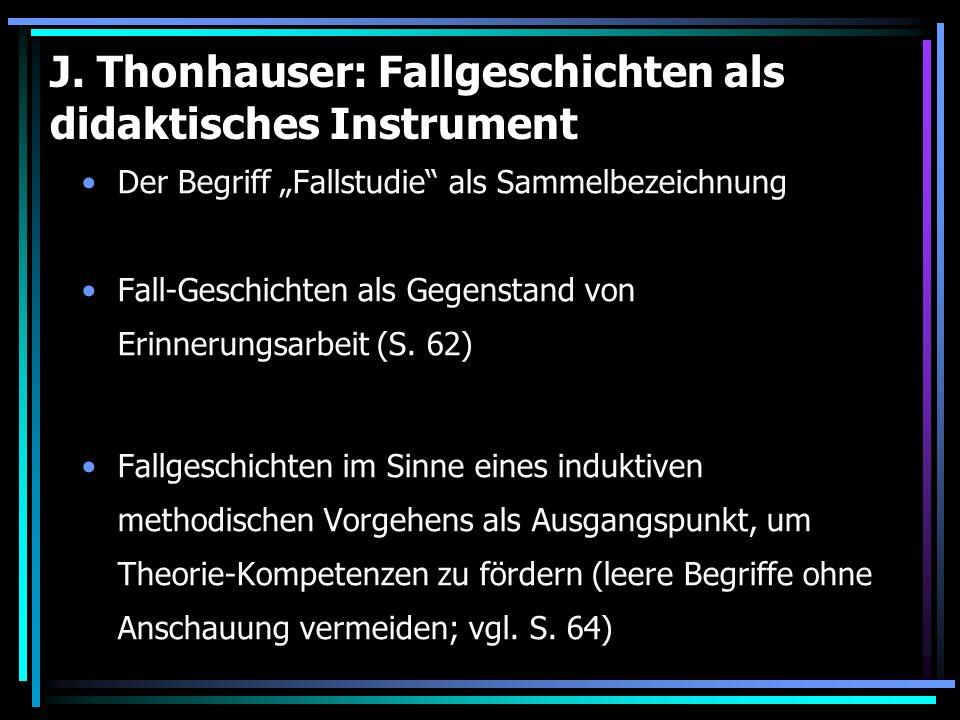 J. Thonhauser: Fallgeschichten als didaktisches Instrument Der Begriff Fallstudie als Sammelbezeichnung Fall-Geschichten als Gegenstand von Erinnerung