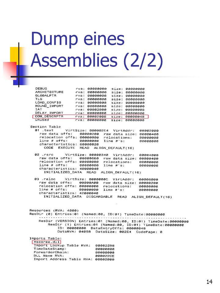 14 Dump eines Assemblies (2/2)