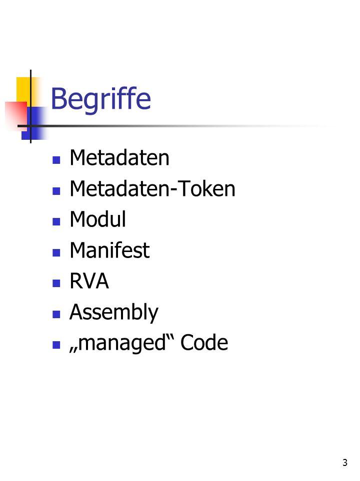 3 Begriffe Metadaten Metadaten-Token Modul Manifest RVA Assembly managed Code
