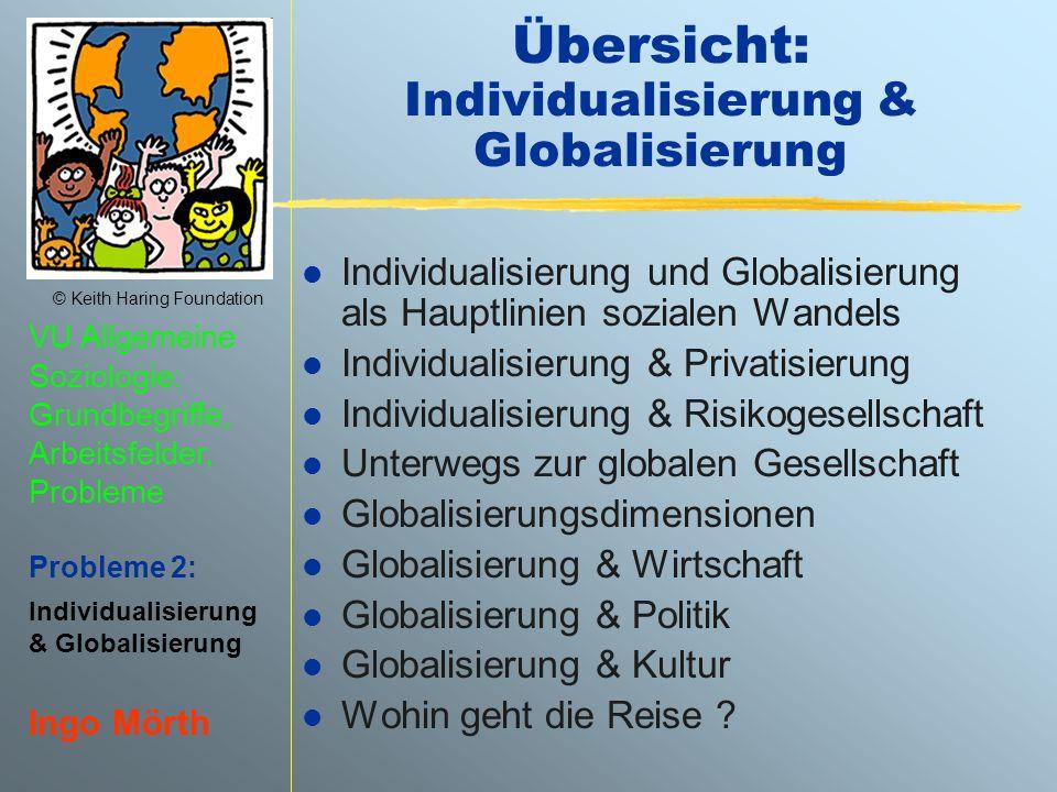 © Keith Haring Foundation VU Allgemeine Soziologie: Grundbegriffe, Arbeitsfelder, Probleme Probleme 2: Individualisierung & Globalisierung Ingo Mörth