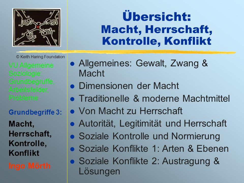 © Keith Haring Foundation VU Allgemeine Soziologie: Grundbegruffe, Arbeitsfelder, Probleme Grundbegriffe 3: Macht, Herrschaft, Kontrolle, Konflikt Ing