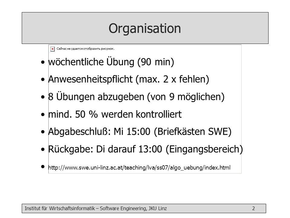 Institut für Wirtschaftsinformatik – Software Engineering, JKU Linz 3 Beurteilung 50 % Klausur / 50 % Übungen beide Anteile müssen positiv sein jeweils 24 Punkte (>= 12 ist positiv) Vl+Ue Klausur Ende Juni Nachklausur im WS 2007/08 Organisation
