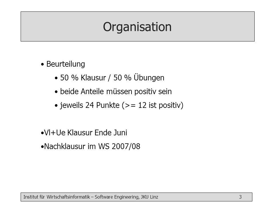 Institut für Wirtschaftsinformatik – Software Engineering, JKU Linz 4 In der Übung Präsentation der letzten Übung Mitarbeit Beispiele Vertiefung des VL-Stoffes Unterlagen & Übungsangabe http://www.swe.uni-linz.ac.at/teaching/lva/ss07/algo_uebung/index.html (z.B.