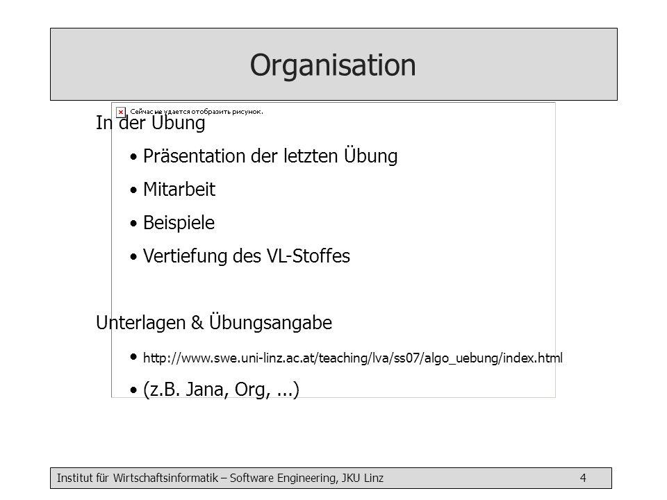 Institut für Wirtschaftsinformatik – Software Engineering, JKU Linz 5 Organisation Form Die Übungsoll sauber und sorgfältig abgefasst sein.