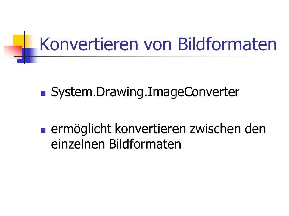 Konvertieren von Bildformaten System.Drawing.ImageConverter ermöglicht konvertieren zwischen den einzelnen Bildformaten