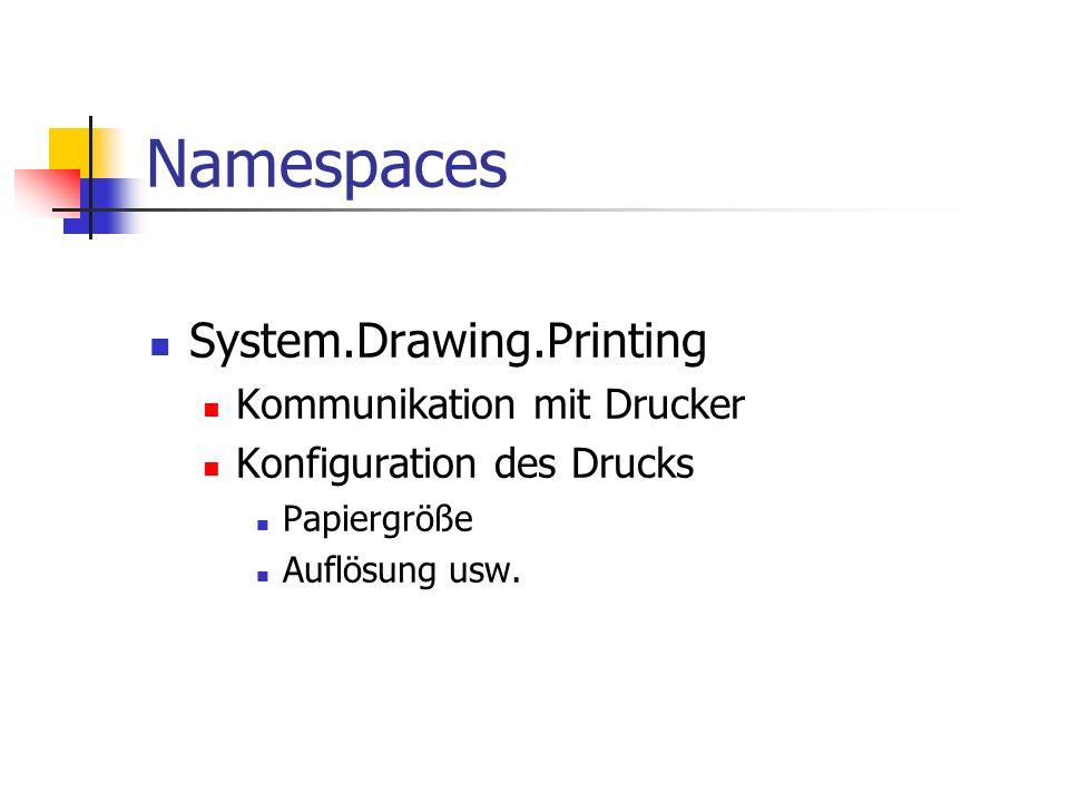 Namespaces System.Drawing.Printing Kommunikation mit Drucker Konfiguration des Drucks Papiergröße Auflösung usw.