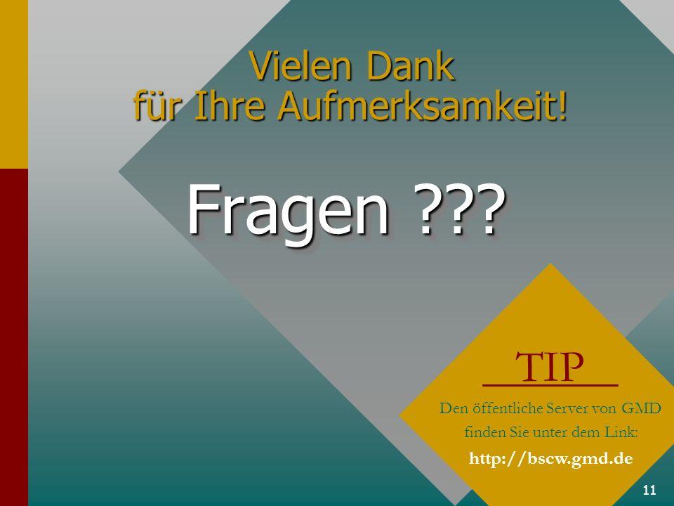 11 Vielen Dank für Ihre Aufmerksamkeit! Fragen ??? TIP Den öffentliche Server von GMD finden Sie unter dem Link: http://bscw.gmd.de