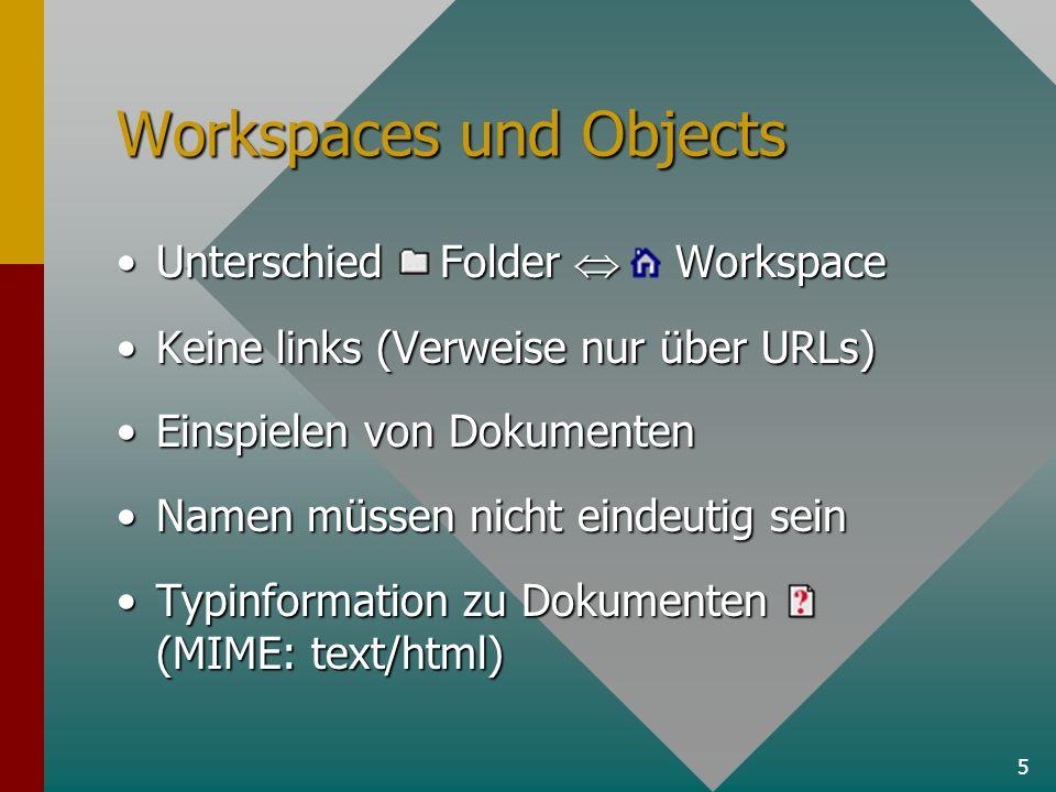 5 Workspaces und Objects Unterschied Folder WorkspaceUnterschied Folder Workspace Keine links (Verweise nur über URLs)Keine links (Verweise nur über URLs) Einspielen von DokumentenEinspielen von Dokumenten Namen müssen nicht eindeutig seinNamen müssen nicht eindeutig sein Typinformation zu Dokumenten (MIME: text/html)Typinformation zu Dokumenten (MIME: text/html)