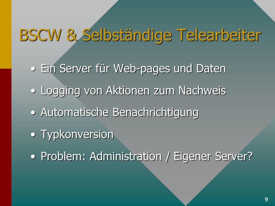 9 BSCW & Selbständige Telearbeiter Ein Server für Web-pages und DatenEin Server für Web-pages und Daten Logging von Aktionen zum NachweisLogging von A
