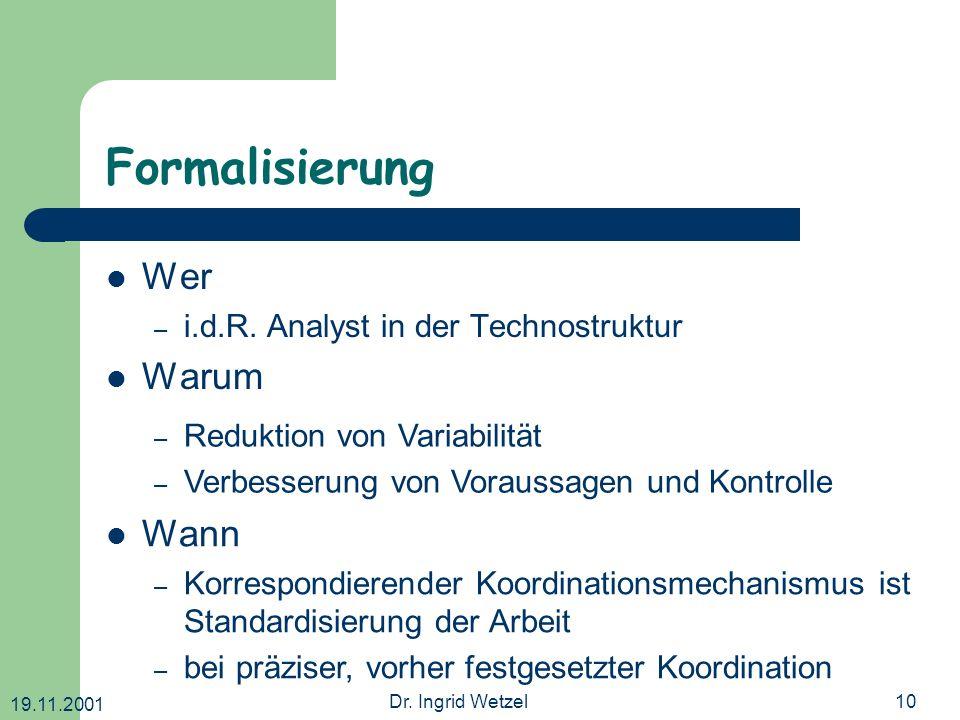 19.11.2001 Dr. Ingrid Wetzel10 Formalisierung Wer – i.d.R. Analyst in der Technostruktur Warum – Reduktion von Variabilität – Verbesserung von Vorauss
