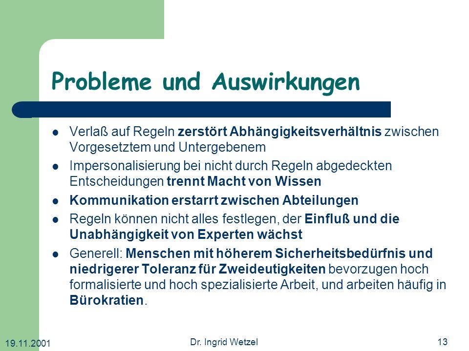 19.11.2001 Dr. Ingrid Wetzel13 Probleme und Auswirkungen Verlaß auf Regeln zerstört Abhängigkeitsverhältnis zwischen Vorgesetztem und Untergebenem Imp
