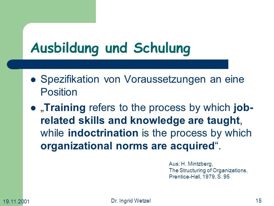 19.11.2001 Dr. Ingrid Wetzel15 Ausbildung und Schulung Spezifikation von Voraussetzungen an eine Position Training refers to the process by which job-