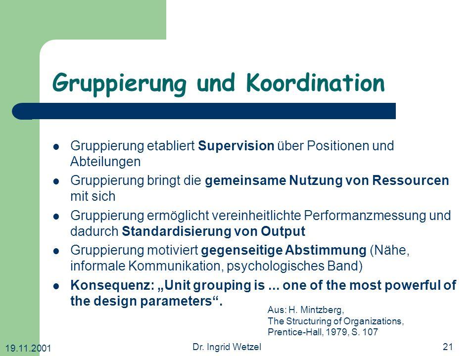 19.11.2001 Dr. Ingrid Wetzel21 Gruppierung und Koordination Gruppierung etabliert Supervision über Positionen und Abteilungen Gruppierung bringt die g