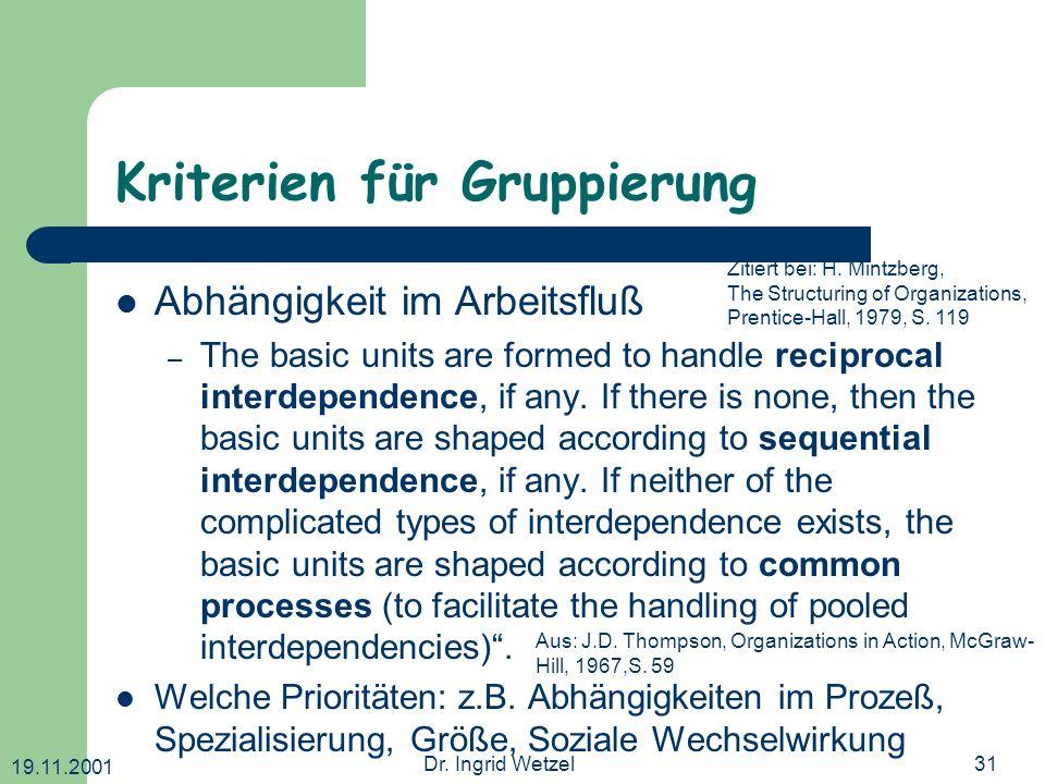 19.11.2001 Dr. Ingrid Wetzel31 Kriterien für Gruppierung Abhängigkeit im Arbeitsfluß – The basic units are formed to handle reciprocal interdependence