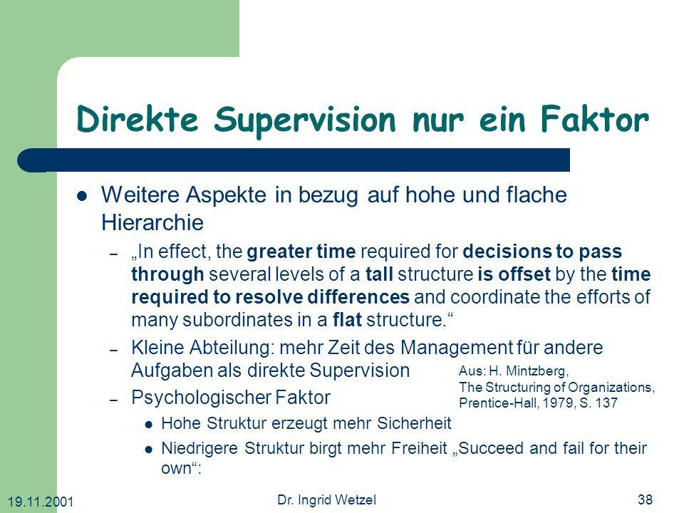19.11.2001 Dr. Ingrid Wetzel38 Direkte Supervision nur ein Faktor Weitere Aspekte in bezug auf hohe und flache Hierarchie –In effect, the greater time