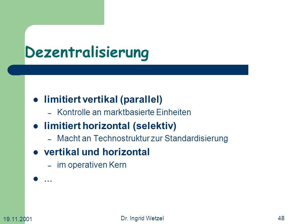 19.11.2001 Dr. Ingrid Wetzel48 Dezentralisierung limitiert vertikal (parallel) – Kontrolle an marktbasierte Einheiten limitiert horizontal (selektiv)