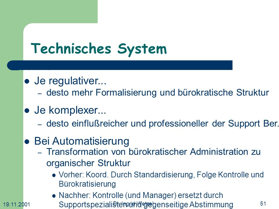 19.11.2001 Dr. Ingrid Wetzel51 Technisches System Je komplexer... – Transformation von bürokratischer Administration zu organischer Struktur Vorher: K