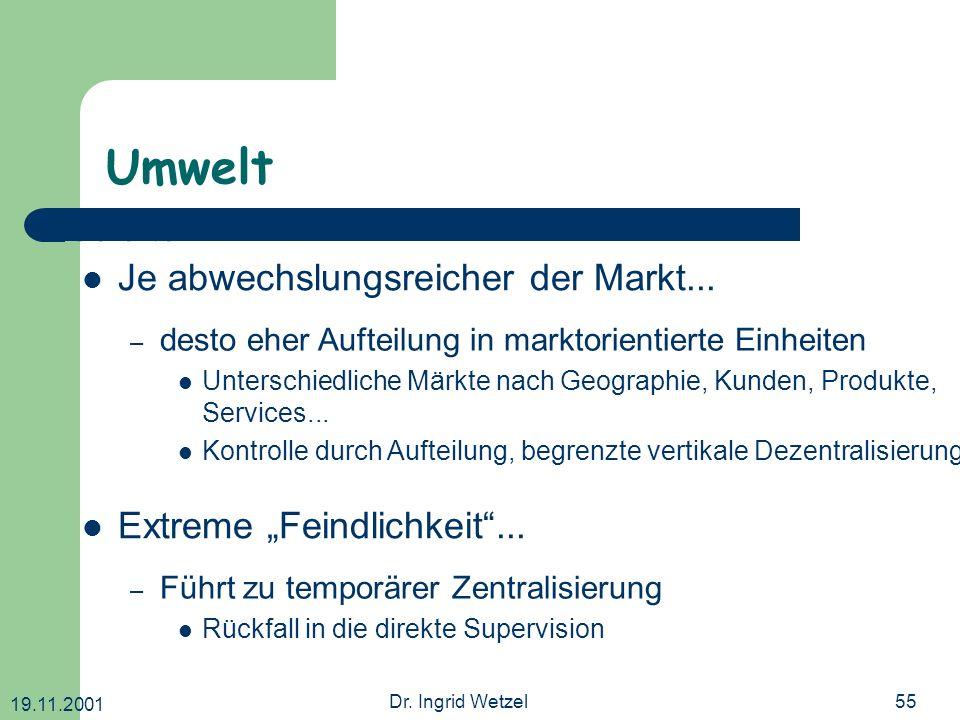 19.11.2001 Dr. Ingrid Wetzel55 Umwelt Extreme Feindlichkeit... – Führt zu temporärer Zentralisierung Rückfall in die direkte Supervision – desto eher