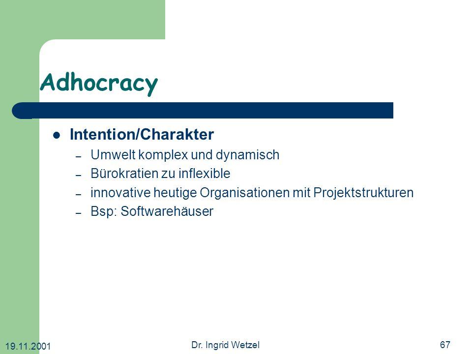 19.11.2001 Dr. Ingrid Wetzel67 Adhocracy Intention/Charakter – Umwelt komplex und dynamisch – Bürokratien zu inflexible – innovative heutige Organisat