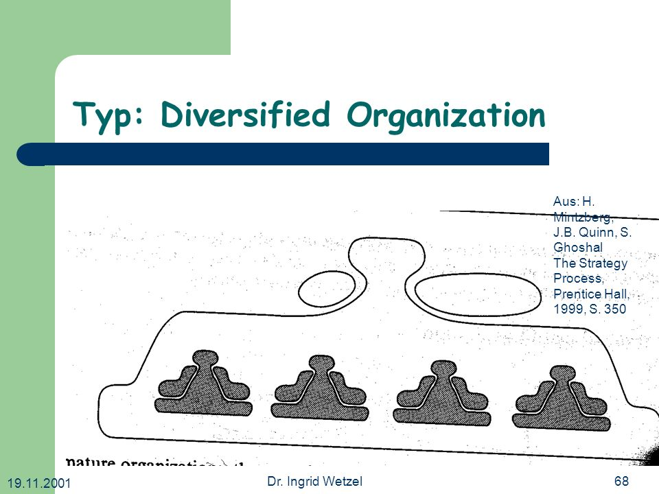 19.11.2001 Dr. Ingrid Wetzel68 Typ: Diversified Organization Aus: H. Mintzberg, J.B. Quinn, S. Ghoshal The Strategy Process, Prentice Hall, 1999, S. 3