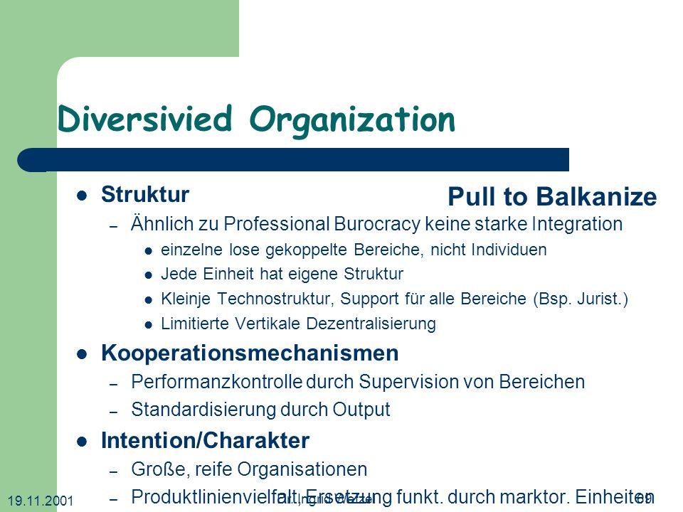 19.11.2001 Dr. Ingrid Wetzel69 Diversivied Organization Struktur – Ähnlich zu Professional Burocracy keine starke Integration einzelne lose gekoppelte