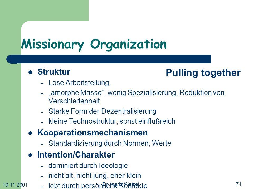 19.11.2001 Dr. Ingrid Wetzel71 Missionary Organization Struktur – Lose Arbeitsteilung, – amorphe Masse, wenig Spezialisierung, Reduktion von Verschied